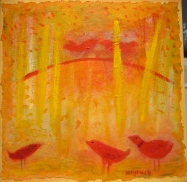 "Five Red Birds, 12""x12"", mixed media / handmade paper on panel, by Barbara Mayfield 2014 SOLD"