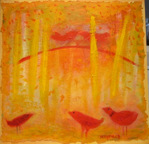 "Five Red Birds, 12""x12"", mixed media / handmade paper on panel, ©Barbara Mayfield 2014"