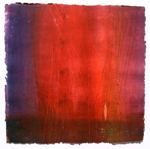 "In the Beginning"" monoprint 30""x30"" by Barbara Mayfield"