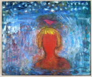 "Mermaid, 22x24"" oil and mixed media on wood panel, by Barbara Mayfield 2010"
