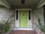 FRESH NEW PAINT: The Parrot Green door, York Gray trim. Cole Stone porch ceiling.