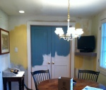 DURING: the nitty gritty process of testing the colors. Kitchen options....