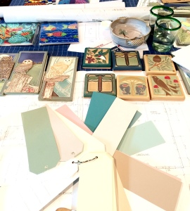 Floor plans, tile, fabric swatches are the go-to for this long distance project.