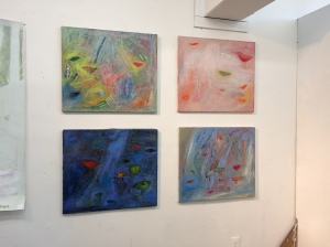 "The ""Garden"" paintings on display for an open studio day."