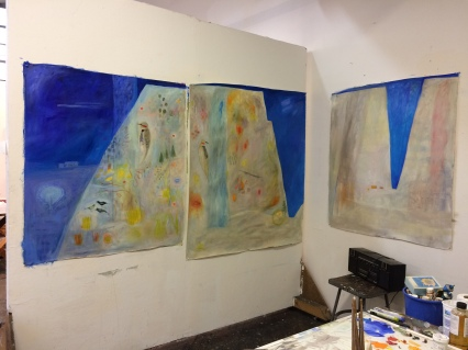 The first Land of Enchantment paintings on display for an open studio day.