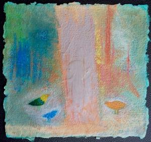 Birds in the Wood. 12x12 o/handmade paper. ©2017 Barbara Mayfield
