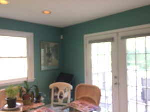 A rich, dusty teal for a breakfast room.