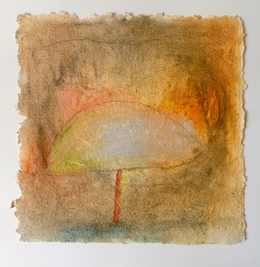 A Walk in the Woods, 16x16 o/handmade paper. ©2018 Barbara Mayfield