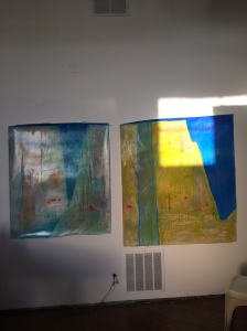 Land of Enchantment paintings on display for an open studio day.